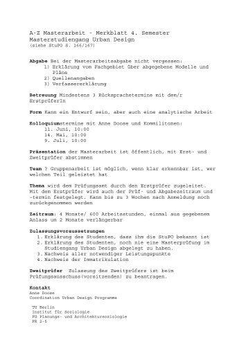 Merkblatt Masterarbeit - Fakultät VI Planen Bauen Umwelt