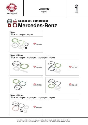 Gasket set, compressor Mercedes-Benz - Elring