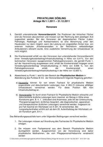 HONORAR – Ü BERSI CH T Wien - Privatklinik Döbling