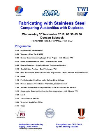To view the event flyer and to BOOK - British Stainless Steel ...