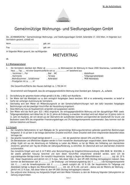 Mietvertrag Wohnung Schwarzatal Gemeinnützige Wohnungs
