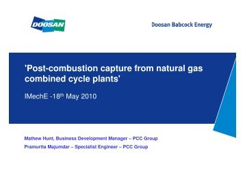'Post-combustion capture from natural gas combined cycle plants'