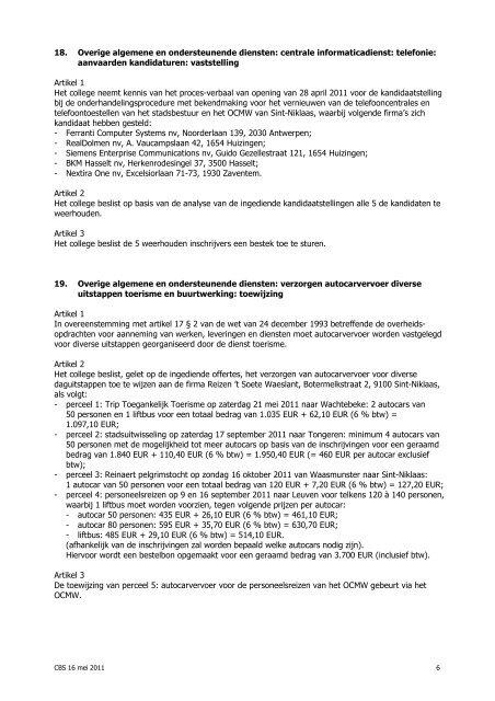 College van burgemeester en schepenen Notulen - Stad Sint-Niklaas