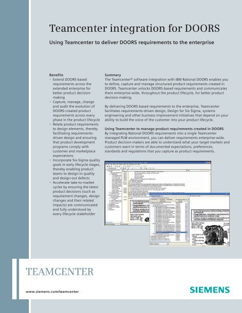 Teamcenter Integration for DOORS - Siemens PLM Software