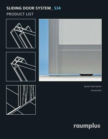 Sliding door system s34 product list - Raumplus