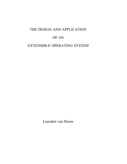 3 Kernel Design for Extensible Systems - Paramecium Web Page