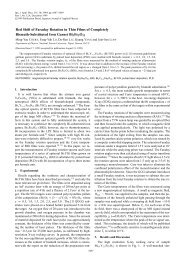 Red Shift of Faraday Rotation in Thin Films of Completely Bismuth ...