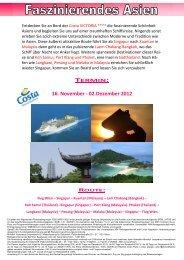 16. November - 02.Dezember 2012 ROUTE - Reisegesellschaft.at