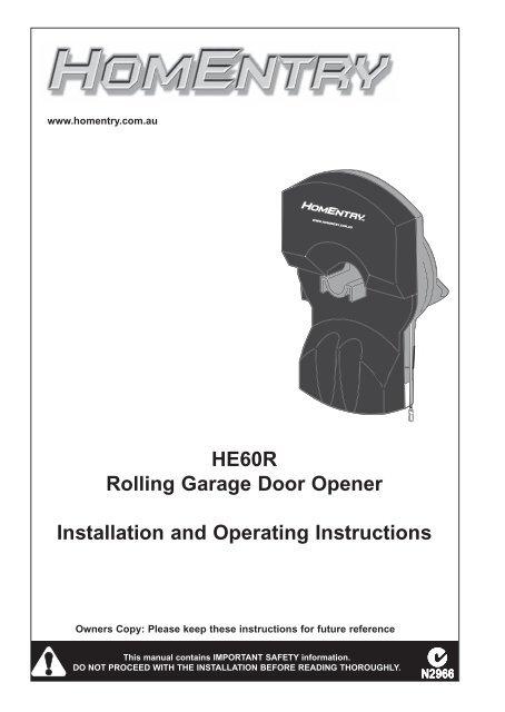 He60r Rolling Garage Door Opener Installation And Chamberlain