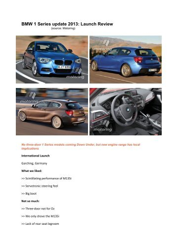 BMW 1 Series update 2013: Launch Review - New Cars Plus