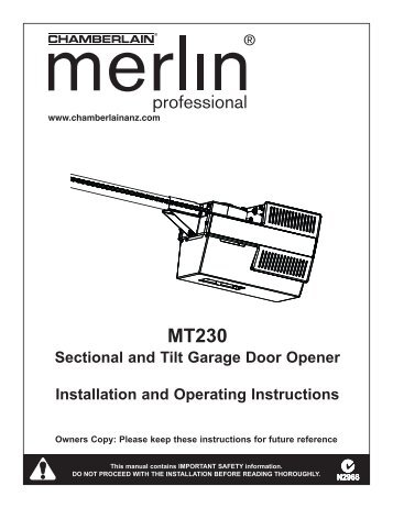 HE60R Rolling Garage Door Opener Installation and