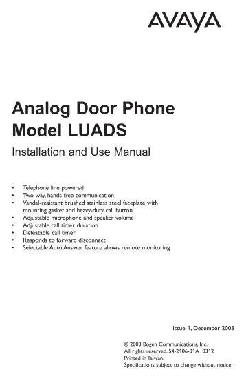 Avaya LUADS Door Phone Manual - Avaya Paging Solutions
