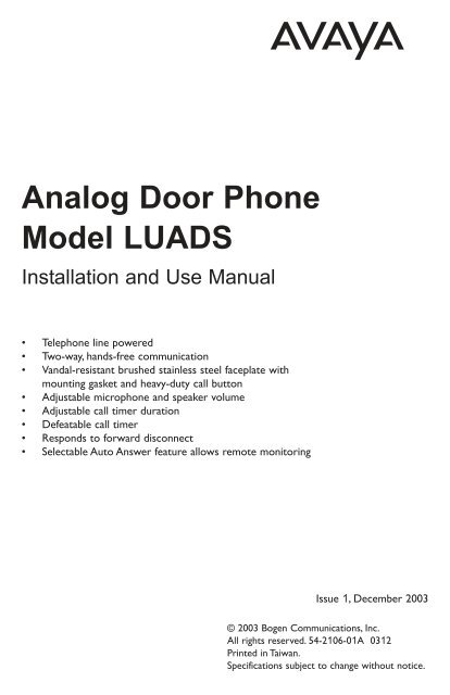 Avaya LUADS Door Phone Manual - Avaya Paging Solutions