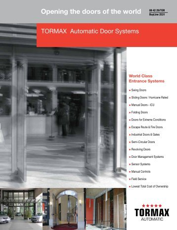 Opening the doors of the world - TORMAX AUTOMATIC