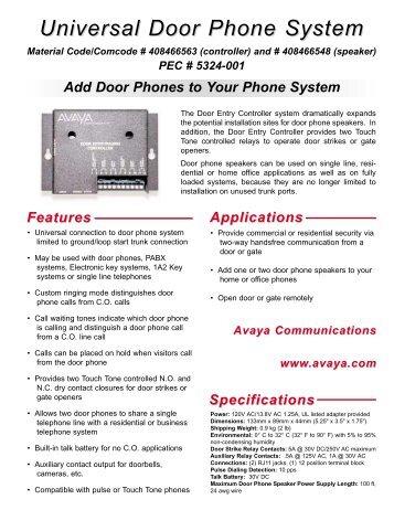 Universal Door Phone System - Avaya Paging Solutions