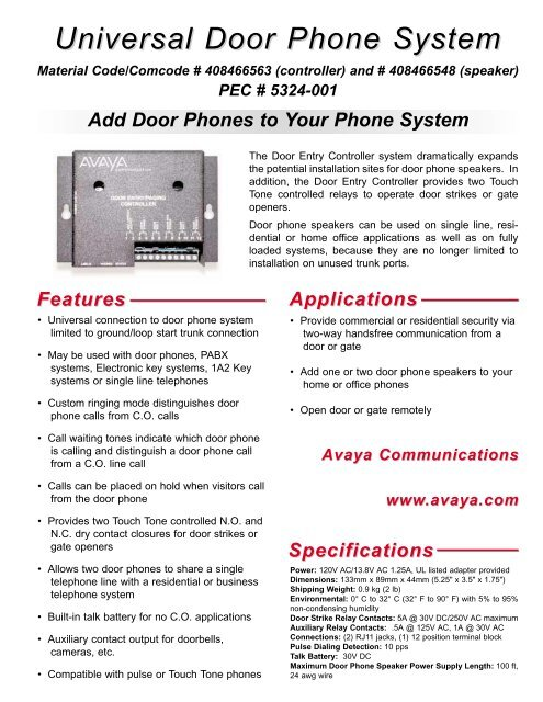 universal door phone system avaya paging solutions Wiring 4 8 Ohm Speakers