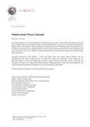 Press Release Publicis denkt Wiener Zukunft. - Publicis Group Austria