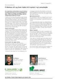 P. Malmos A/S og Grøn Vækst A/S styrket i nyt samarbejde
