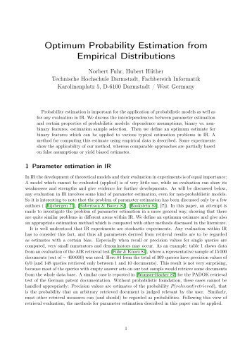 Optimum Probability Estimation from Empirical Distributions