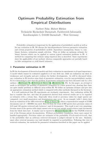Optimum Probability Estimation from Empirical Distributions
