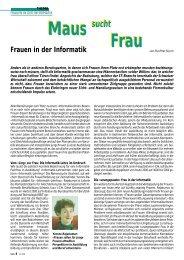 Maus sucht Frau - ETH - Frauenförderung Informatik - ETH Zürich