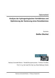 Analyse der hydrogeologischen Verhältnisse und Optimierung der ...