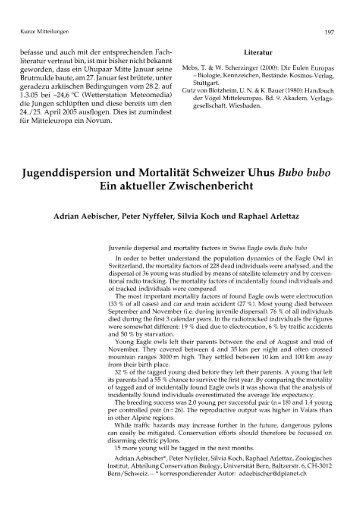 Jugenddispersion und Mortalitä Schweizer Uhus Bubo bubo Ein ...