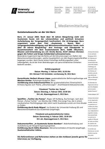 Medienmitteilung - Guatemalanetz Bern
