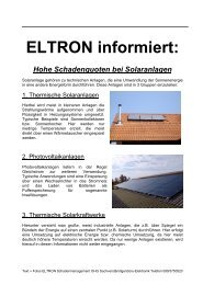 ELTRON informiert: Hohe Schadenquoten bei Solaranlagen