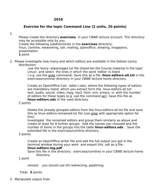 2010 Exercise for the topic Command Line (2 units, 20 points)