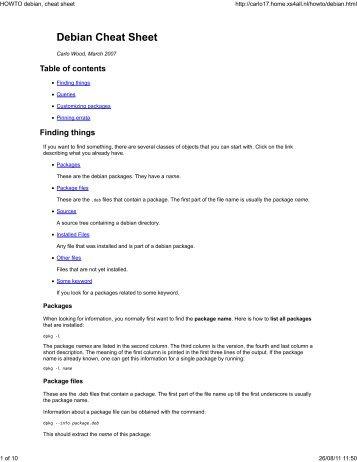 Debian Cheat Sheet