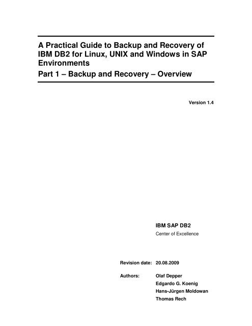 A Practical Guide to Backup and Recovery of IBM DB2 for