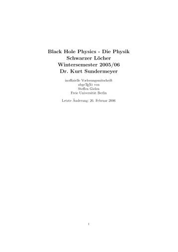 Black Hole Physics - Die Physik Schwarzer Löcher Wintersemester ...