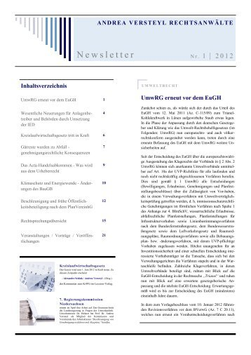 Newsletter I/2012 - Andrea Versteyl Rechtsanwälte