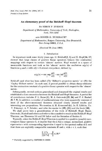 An elementary proof of the Birkhoff-Hopf theorem