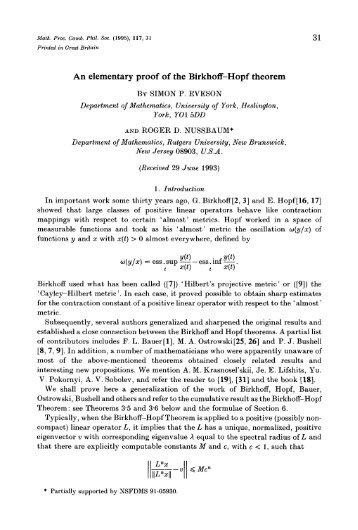 An elementary proof of the Birkhoff-Hopf theorem