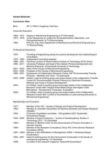 herbert birkhofer curriculum vitae born 08111945 in augsburg