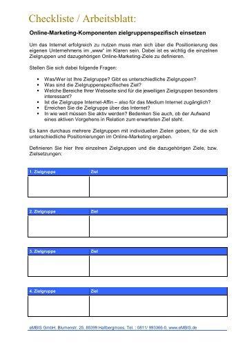 Arbeitsblatt 1: Checkliste