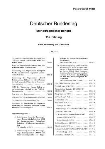 Stenographischer Bericht 155. Sitzung - Deutscher Bundestag