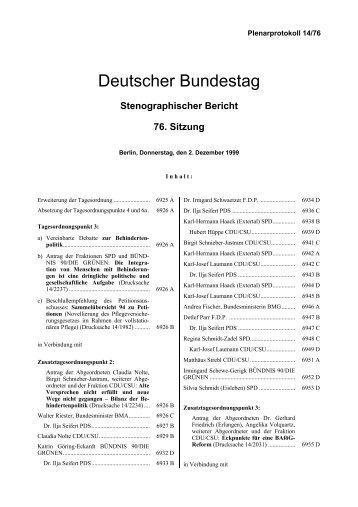 Stenographischer Bericht 76. Sitzung - Deutscher Bundestag