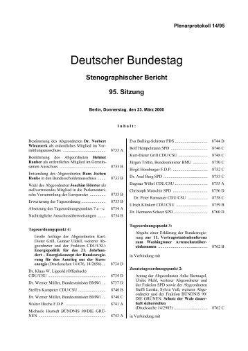 Stenographischer Bericht 95. Sitzung - Deutscher Bundestag
