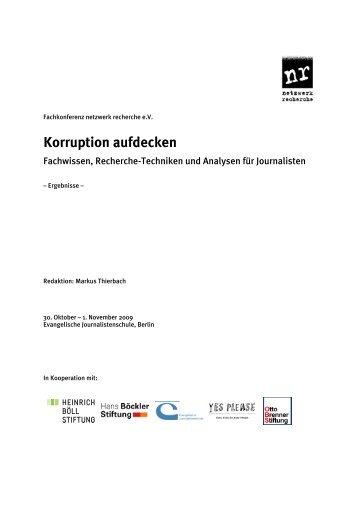 Korruption aufdecken - Netzwerk Recherche