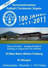 Vereinsinformation Fußball | Tischtennis - SV Blau-Weiss-Wiehre