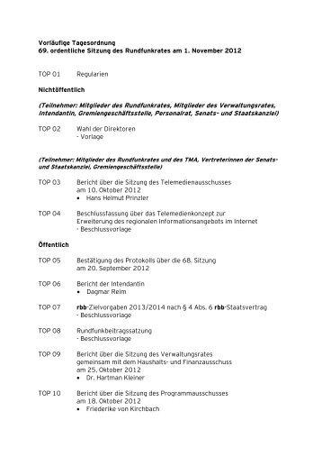 Protokoll der 69. Rundfunkratssitzung vom 1. November - beim rbb