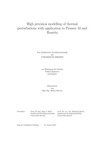 High precision modelling of thermal perturbations with application to ...