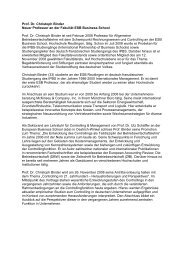 Prof. Dr. Christoph Binder Neuer Professor an der Fakultät ESB ...