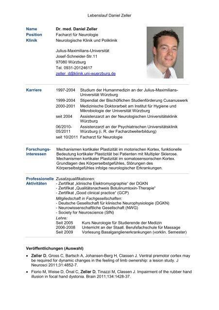 Lebenslauf Daniel Zeller Name Dr Med Daniel Zeller Position