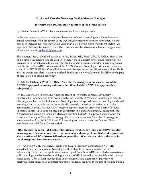 Interview with Dr  Jose Biller - American Academy of Neurology