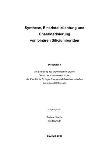 Synthese, Einkristallzüchtung und Charakterisierung von binären ...