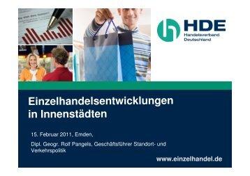 Einzelhandelsentwicklungen in Innenstädten - Stadt Emden